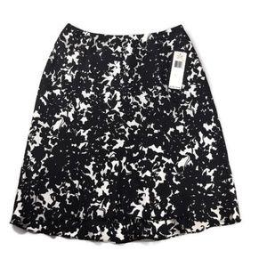 Ralph Lauren NWT Silk Skirt Black White Size 10